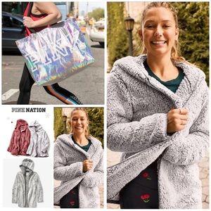 PINK Victoria's Secret Sherpa Cardigan & Bag